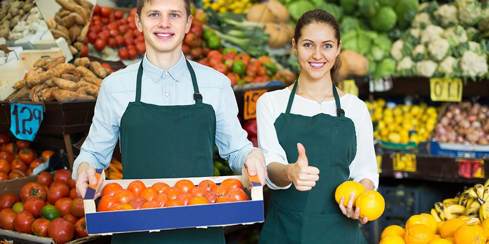 Smiling,Supermarket,Workers,In,Fruit,And,Vegetables,Section